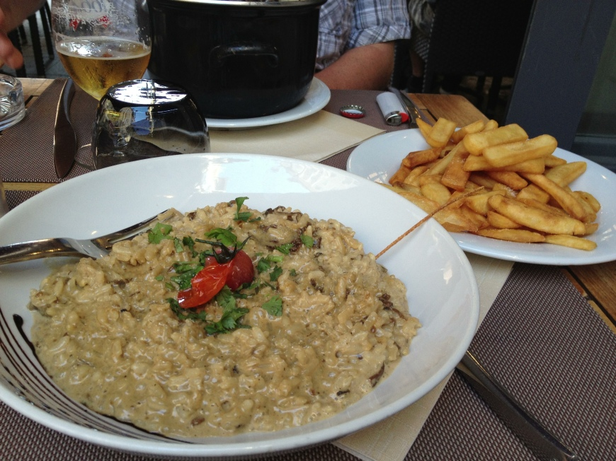 Mushroom Risotto with french fries cooked in olive oil