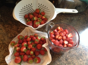 Prepping the strawberries, washed and cut into smaller pieces before crushing them