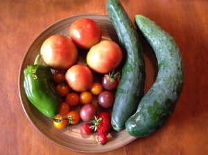 Cucumbers, tomatoes, green pepper and berries