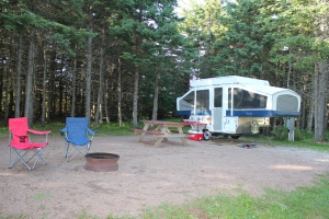 Our lovely campsite at PEI National Park (our new favorite spot)